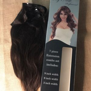 """""""Sold"""" 7piece set clip on human hair extensions 18"""